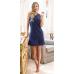 Pigiama Jadea home abito corto estivo donna serafino scollo a V in cotone ART.3079 BLU - BIANCO